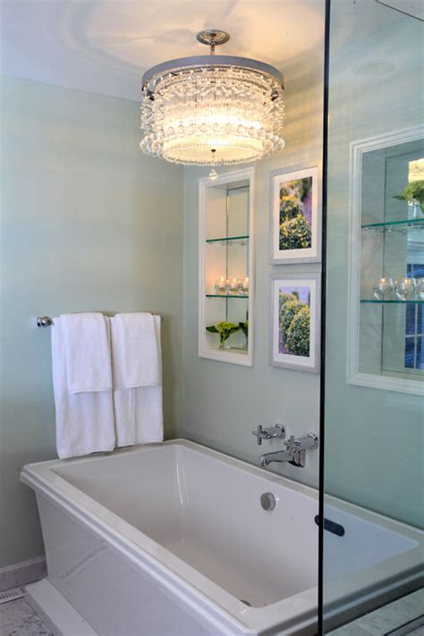 chandelier over bathtub i love the chandelier over the tub but my contractor says