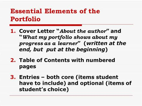 essential elements to include in portfolio assessment methods ppt video online download
