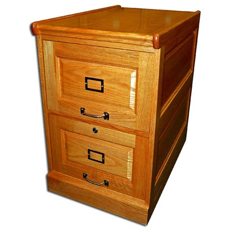 166 Two Drawer Oak File Cabinet with Raised Side Panels