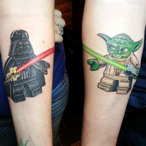 lego tattoo couple lego darth vader yoda tattoo best tattoo ideas designs