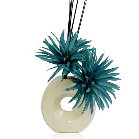 Teal Vase Filler by Teal Silk Artificial Flower Arrangement In Vase