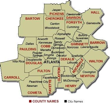 atlanta ga area map county fulton county gwinnett