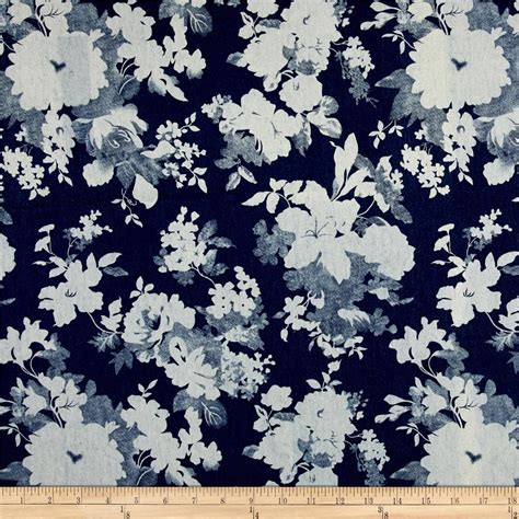 flower print fabric navy blue background blue white pink telio stretch denim flower print blue denim flowers