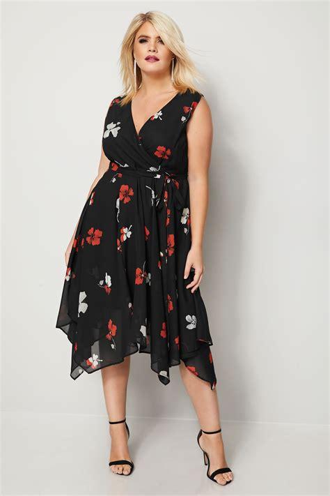 black floral print wrap dress  hanky hem  size