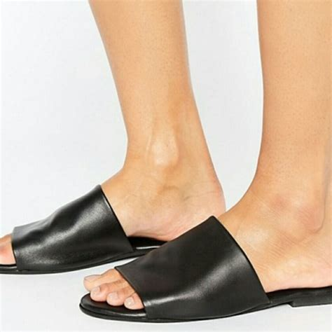 asos asos fahrenheit black leather mules nwt size 9 from