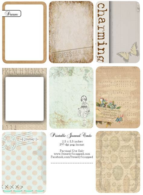 free journal card templates sweetly scrapped freebie journaling cards and