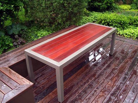 brazilian redwood deck  parsons style patio table