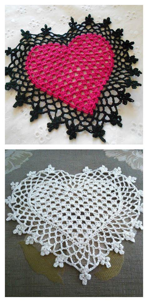 crochet heart pattern pinterest lovely crochet heart doilies free patterns great for