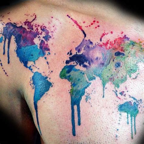 watercolor tattoo world map watercolor world map tattoos chest pictures