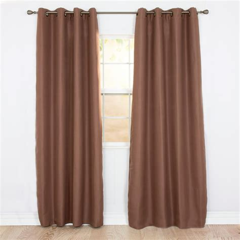 polyester blackout curtains lavish home blackout linen look chocolate polyester