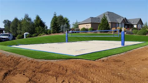 how to build a sand volleyball court in backyard how to construct a volleyball court