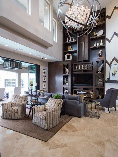 living room shelves with asian design hgtv