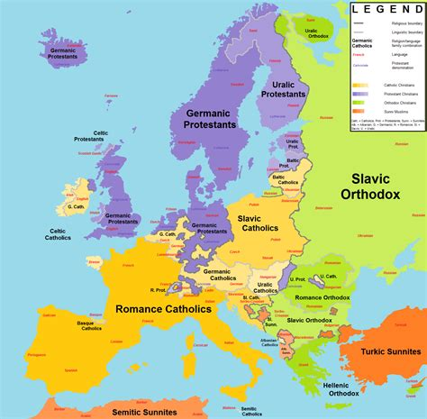 religion map europe religions and language families in europe 1538x1512 oc