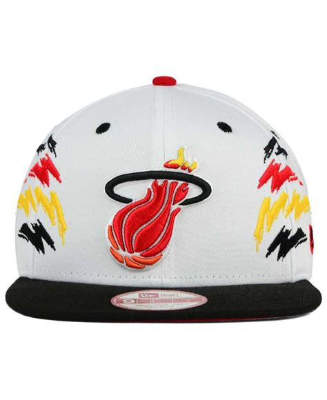 ktz miami heat cool 9fifty snapback cap in white for