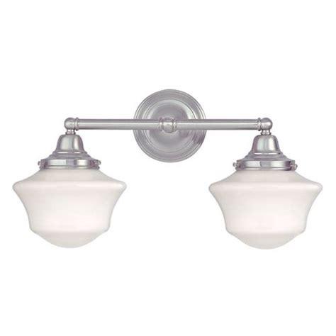 satin nickel bathroom light fixtures schoolhouse bathroom light with two lights in satin nickel