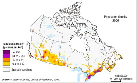 canadian map by population geography
