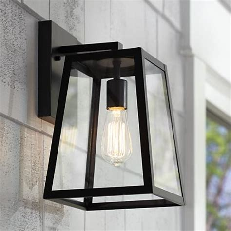 black exterior lights arrington 13 quot high mystic black outdoor wall light