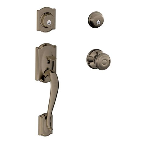 Shop Schlage F Camelot X Georgian Knob Antique Pewter Dual Schlage Exterior Door Locks