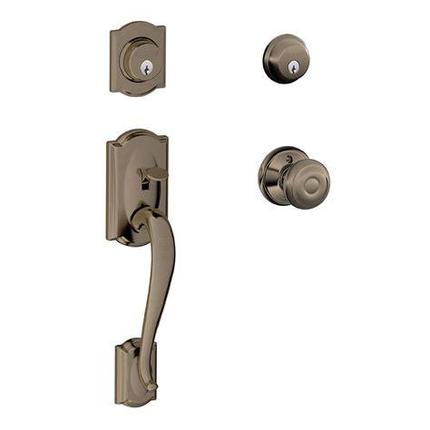 Schlage Front Door Locks Shop Schlage F Camelot X Georgian Knob Antique Pewter Dual Lock Keyed Entry Door Handleset At