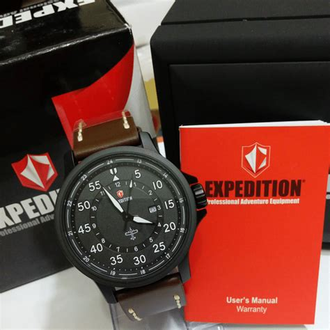 Jam Tangan Pria Expedition 6680 jual expedition 6680 black steel brown leather baru jam