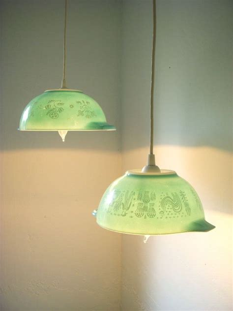Repurposed Lighting Fixtures Summer Mornings Robins Egg Blue Farmhouse Motif Pyrex Glassware Bowls Light Hanging Pendant