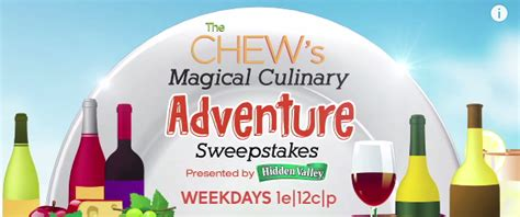 Magical Culinary Sweepstakes - enter the chew s sweepstakes for a chance to win a trip to 20th epcot