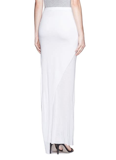 helmut lang twist front jersey maxi skirt in white lyst
