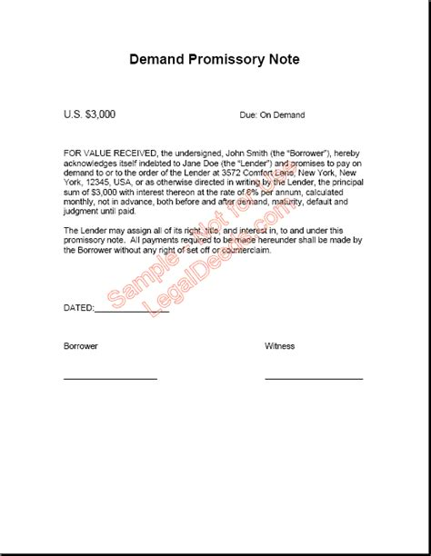 demand promissory note template demand promissory note template free printable documents