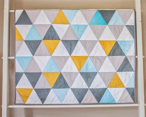 Triangle Patchwork - modern color triangle patchwork quilt jaqs studio