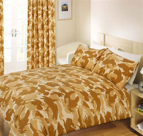 Camouflage Quilt Cover by Beige Colour Army Camouflage Print Design