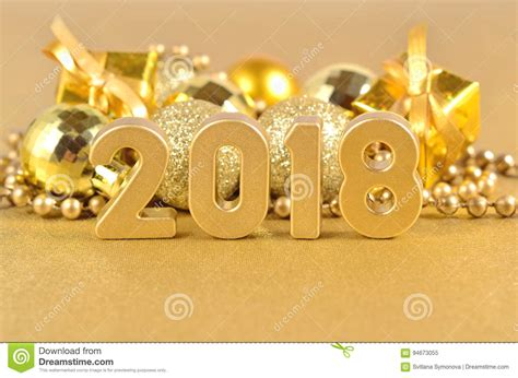new year 2018 decorations ideas 2018 year golden figures and decorations stock