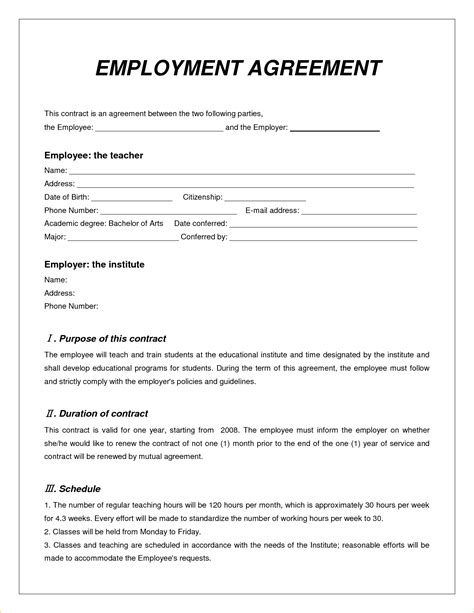 8 employee contract sle timeline template
