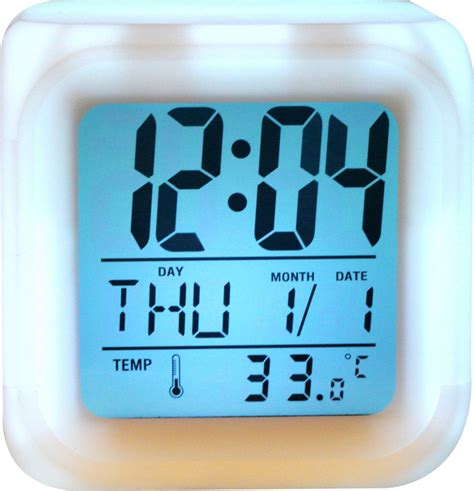 wallace glow color change led alarm clock calendar temperature desktop digital clocks table