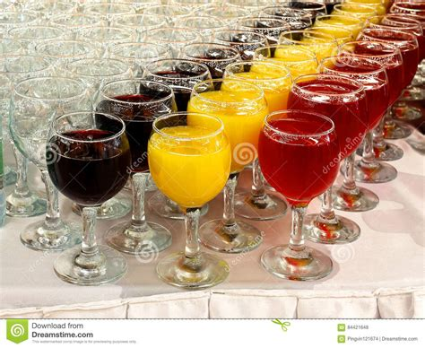 Drinks Table glasses with drinks on the table for buffet stock photo