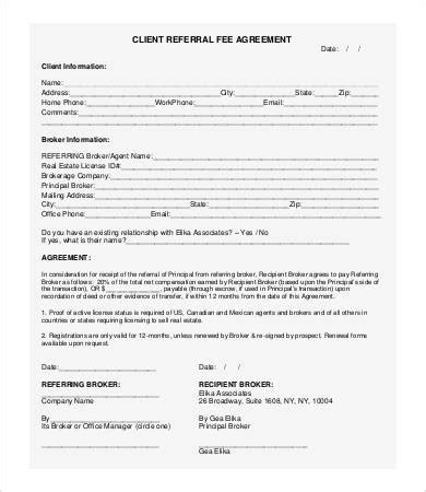 client referral form template referral agreement templates 9 free pdf documents