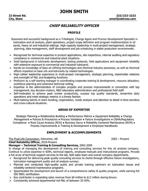 chief reliability officer resume template premium resume samples