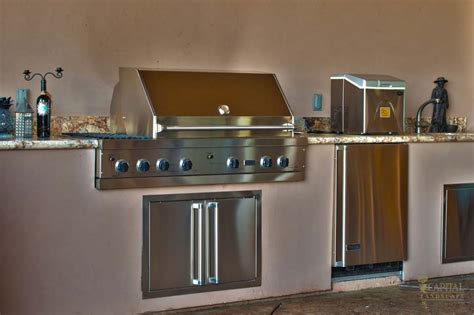 outdoor kitchen bar b cue grill sink fridge greater