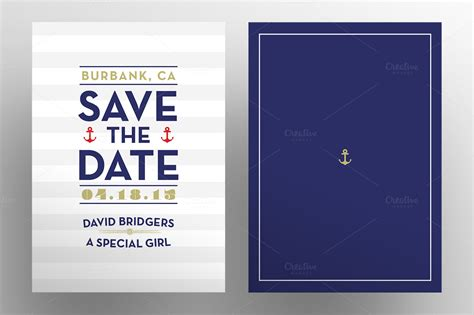 Save The Date Nautical Postcards Invitation Templates On Creative Market Nautical Save The Date Template