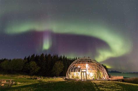 igloo under northern lights norwegian couple design the ultimate eco igloo island getaway