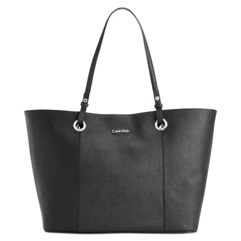 Bag Item calvin klein key item large saffiano tote in black lyst