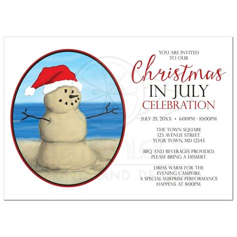 in july invitations sand snowman