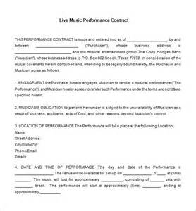 Musicians Contract Template by 9 Contract Templates Free Word Pdf Documents