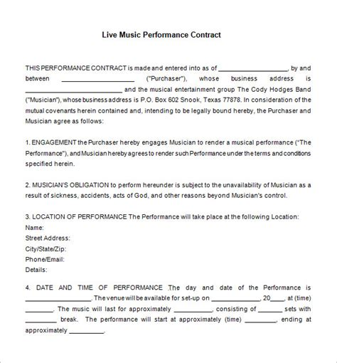 14 Music Contract Templates Word Pdf Free Premium Templates Musician Contract Template Free