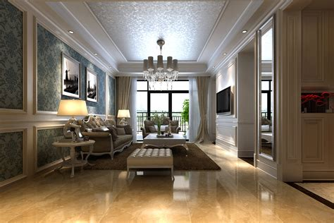 Marble Living Room by Modern Living Room With Marble Floor And A 3d Model