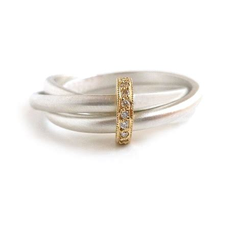 silver 18k gold ring with 9 diamonds rdm4