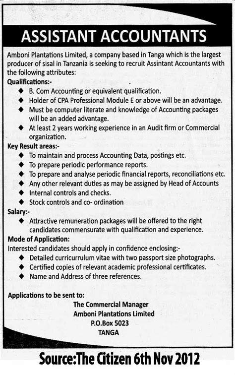 assistant accountant tayoa employment portal