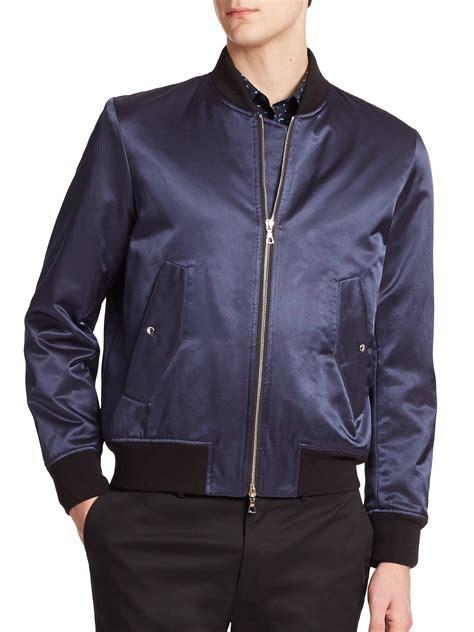 light blue satin bomber jacket lyst ps by paul smith satin bomber jacket in blue for men