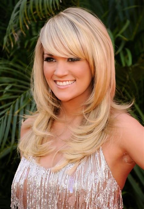 hairstyles with long bangs and layers carrie underwood layered long blonde hairstyles with bangs
