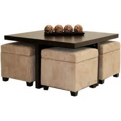 Coffee Table With Ottoman Seating Club Coffee Table With 4 Storage Ottomans Chocolate And Beige Walmart