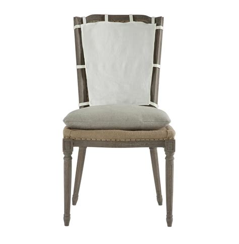 pair country weathered gray dining chair with slip